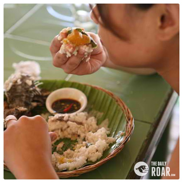 The eating with bare hands challenge the philippines for Food bar hands